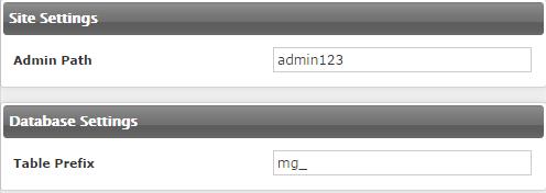 Instalar Magento - Site e db Settings