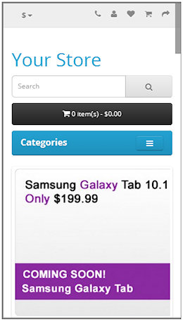 opencart 2.0 mobile Home Page
